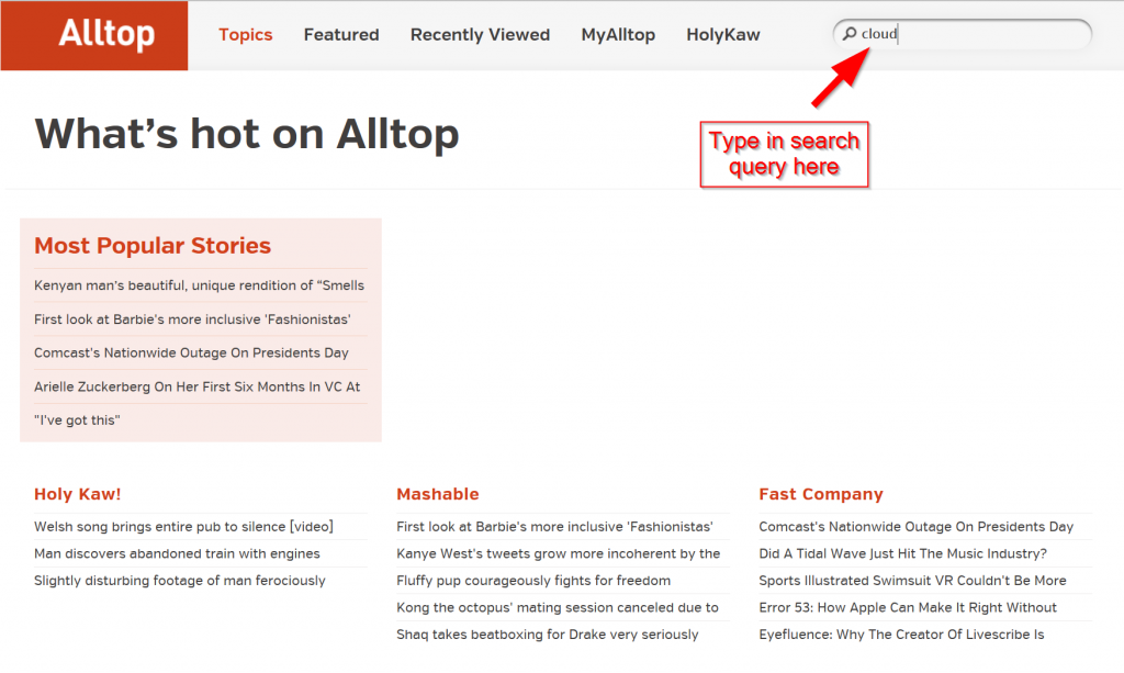 AllTop Search Screenshot
