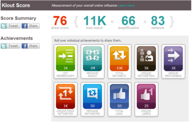 Klout Score Screenshot